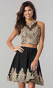Image of Dave and Johnny two-piece taupe short prom dress. Style: DJ-A5476t Detail Image 2