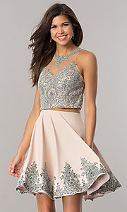 Image of Dave and Johnny two-piece taupe short prom dress. Style: DJ-A5476t Front Image