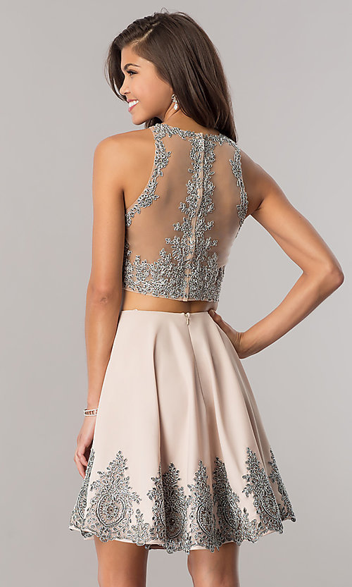 Image of Dave and Johnny two-piece taupe short prom dress. Style: DJ-A5476t Back Image