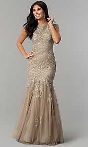Image of taupe Dave and Johnny long lace prom dress. Style: DJ-1937t Front Image