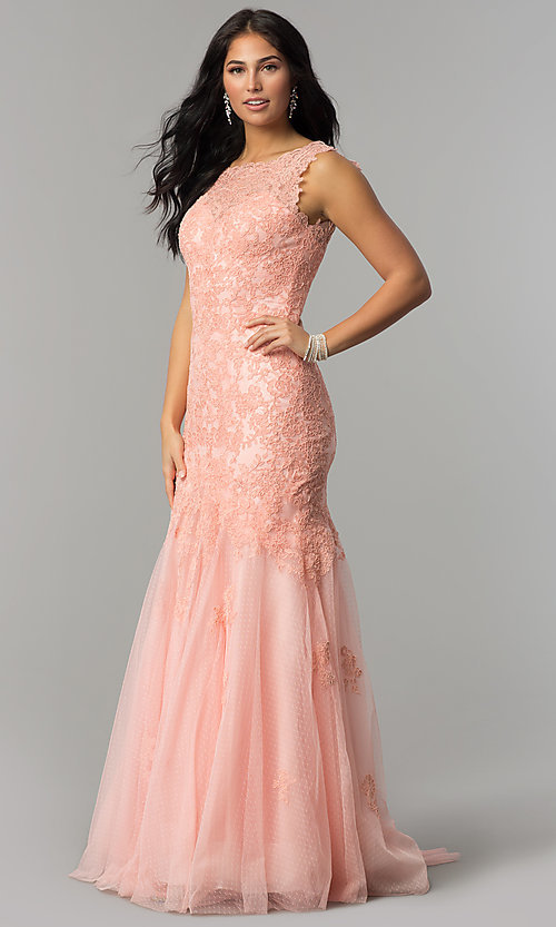 Image of taupe Dave and Johnny long lace prom dress. Style: DJ-1937t Detail Image 2
