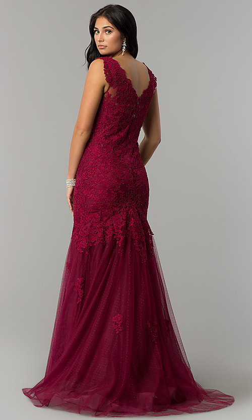 Image of taupe Dave and Johnny long lace prom dress. Style: DJ-1937t Back Image