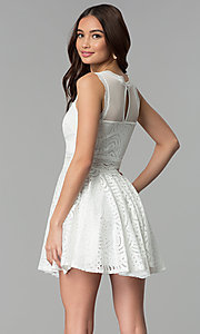 Image of short lace graduation party dress with sheer waist. Style: CL-46225 Back Image