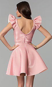 Image of short pink party dress with ruffled cap sleeves. Style: CL-D45580 Back Image