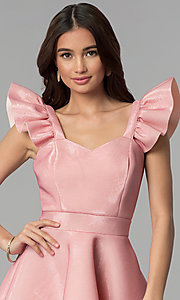 Image of short pink party dress with ruffled cap sleeves. Style: CL-D45580 Detail Image 1