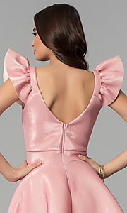 Image of short pink party dress with ruffled cap sleeves. Style: CL-D45580 Detail Image 2
