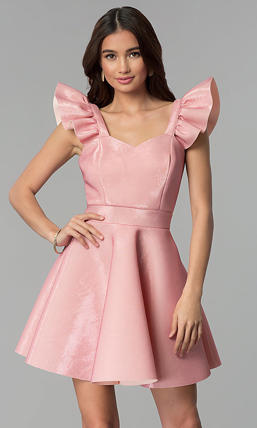 Image of short pink party dress with ruffled cap sleeves. Style: CL-D45580 Front Image