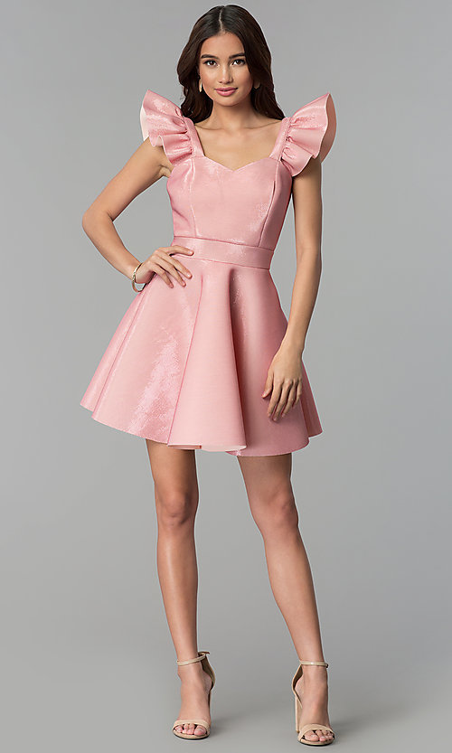 Image of short pink party dress with ruffled cap sleeves. Style: CL-D45580 Detail Image 3