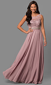 Image of lace-bodice long mocha prom dress with beaded waist. Style: DQ-9325m Front Image
