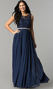 Image of lace-bodice long mocha prom dress with beaded waist. Style: DQ-9325m Detail Image 3