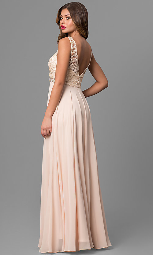 Embellished-Waist Long Prom Dress with Lace Bodice