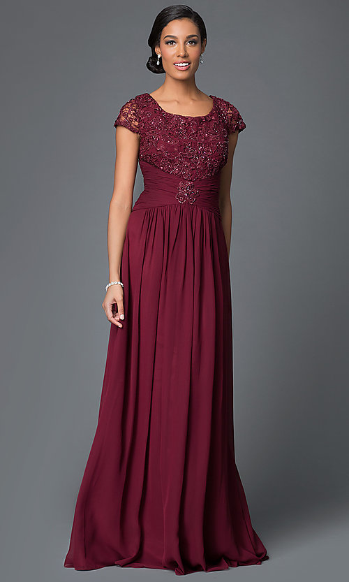 Image of cap-sleeve long chiffon MOB dress with lace bodice. Style: FB-GL1398Ym Detail Image 2
