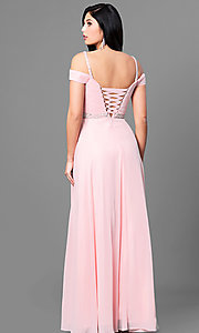 Image of cold-shoulder corset-back long mocha prom dress. Style: DQ-9718m Back Image