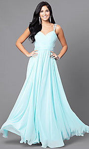 Image of v-neck long a-line pleated-bodice prom dress. Style: DQ-9471m Detail Image 3