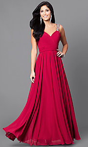 Image of v-neck long a-line pleated-bodice prom dress. Style: DQ-9471m Detail Image 1
