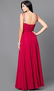 Image of v-neck long a-line pleated-bodice prom dress. Style: DQ-9471m Back Image