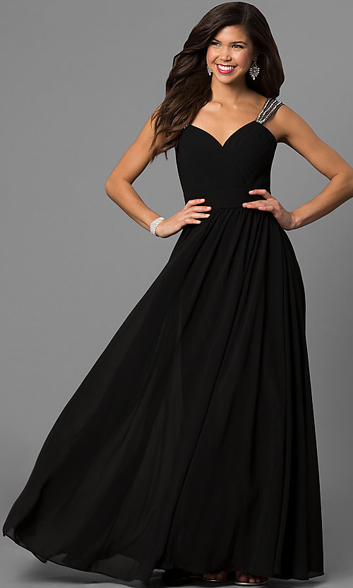 Image of v-neck long a-line pleated-bodice prom dress. Style: DQ-9471m Detail Image 2
