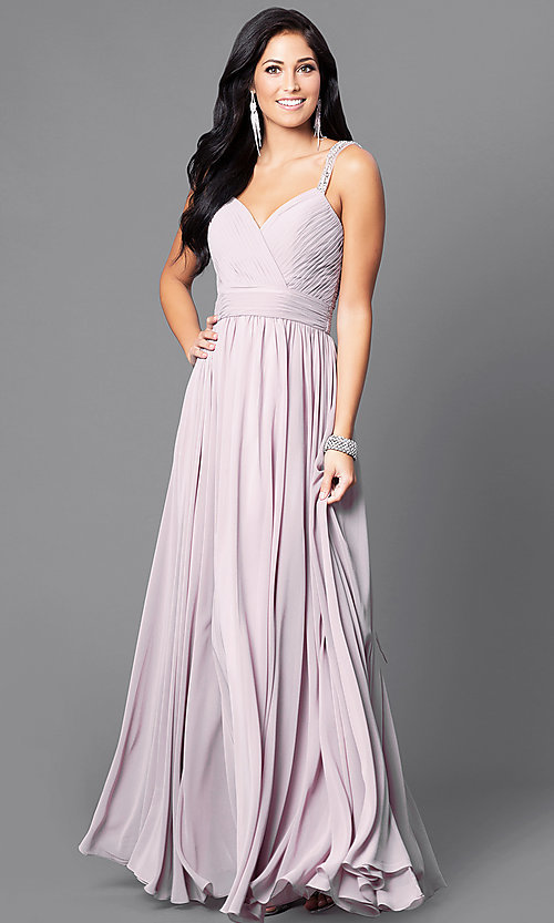 Image of v-neck long a-line pleated-bodice prom dress. Style: DQ-9471m Front Image