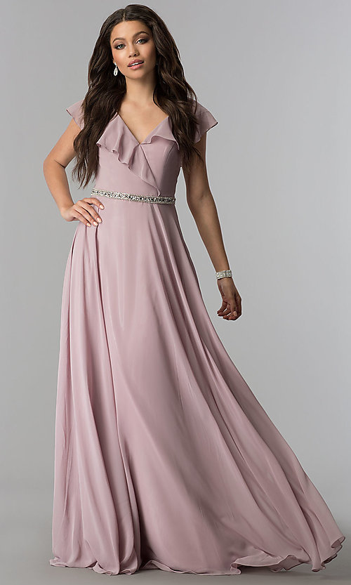Image of chiffon mocha long formal dress with ruffled v-neck. Style: DQ-2072m Front Image