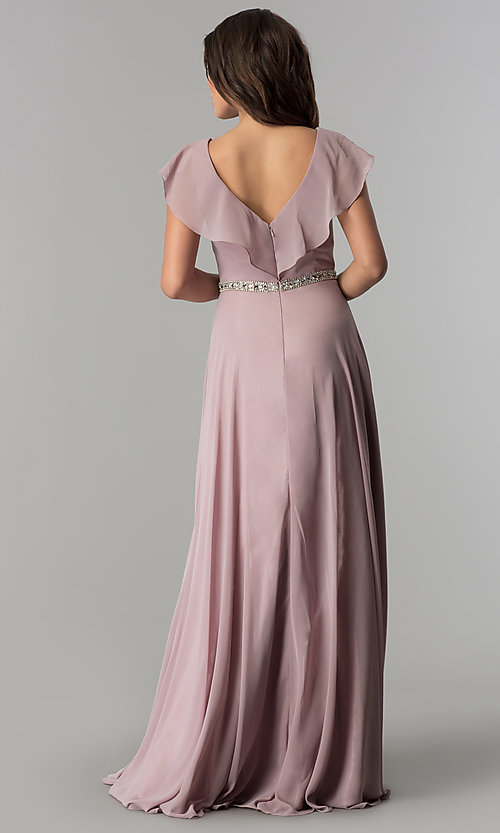 Image of chiffon mocha long formal dress with ruffled v-neck. Style: DQ-2072m Back Image