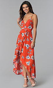 Image of floral-print faux-wrap casual high-low party dress. Style: BLU-IBD8889 Detail Image 1