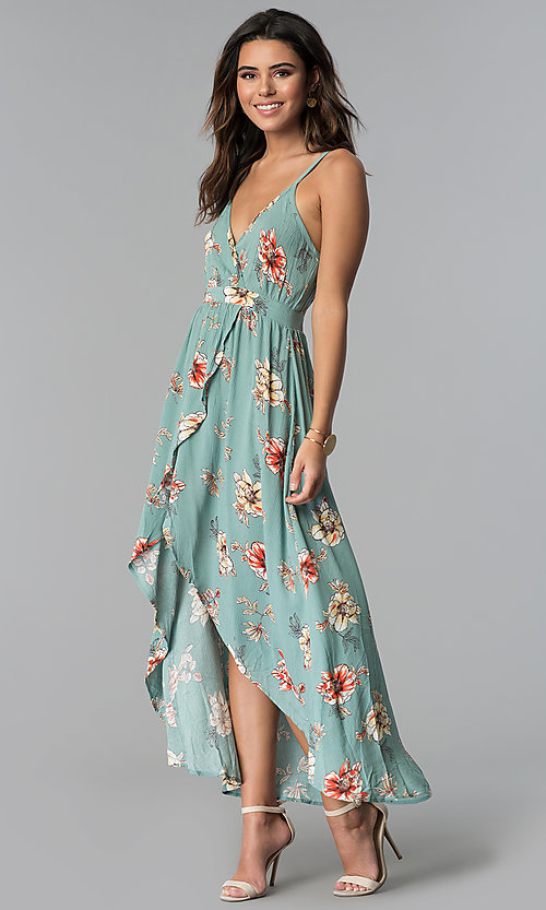 Image of floral-print faux-wrap casual high-low party dress. Style: BLU-IBD8889 Front Image