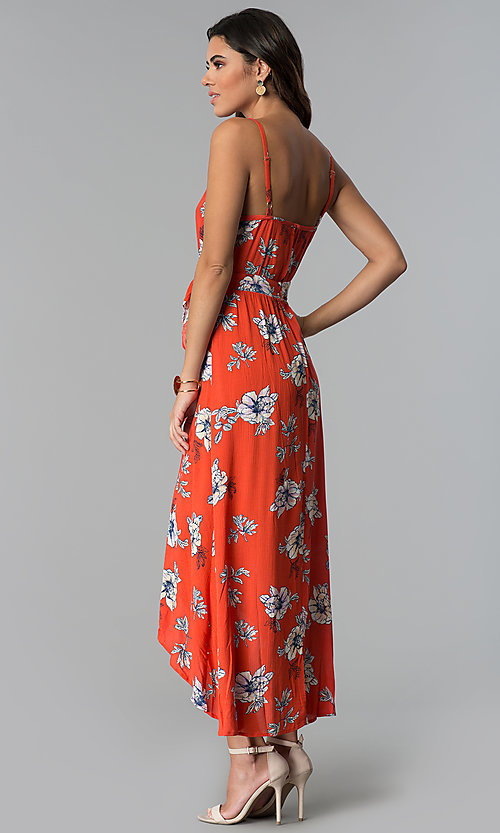 Image of floral-print faux-wrap casual high-low party dress. Style: BLU-IBD8889 Back Image