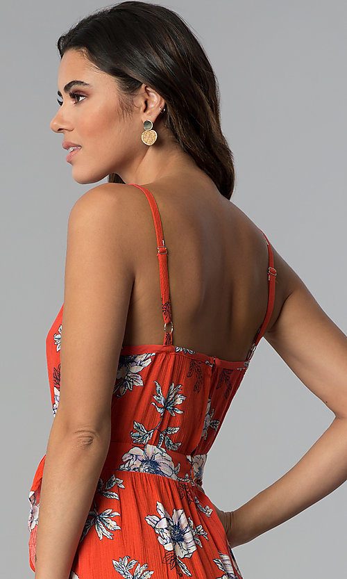 Image of floral-print faux-wrap casual high-low party dress. Style: BLU-IBD8889 Detail Image 2