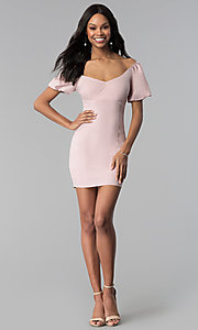 Image of bubble-sleeve off-the-shoulder short party dress. Style: BLU-IBD8895 Detail Image 2