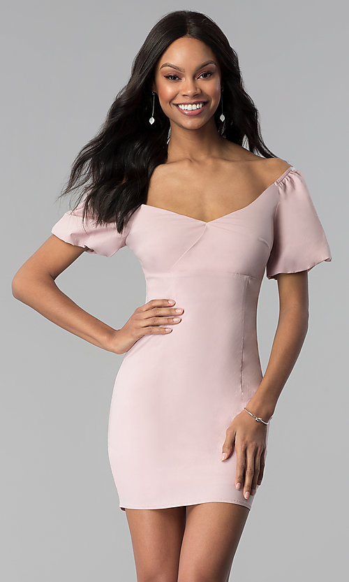 Image of bubble-sleeve off-the-shoulder short party dress. Style: BLU-IBD8895 Front Image