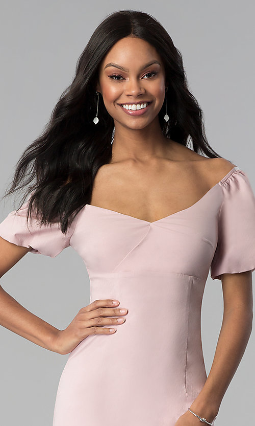 Image of bubble-sleeve off-the-shoulder short party dress. Style: BLU-IBD8895 Detail Image 1