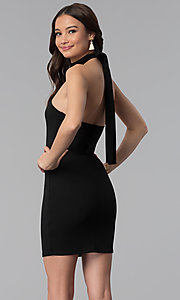 Image of halter high-neck short open-back party dress. Style: BLU-BD9005 Back Image
