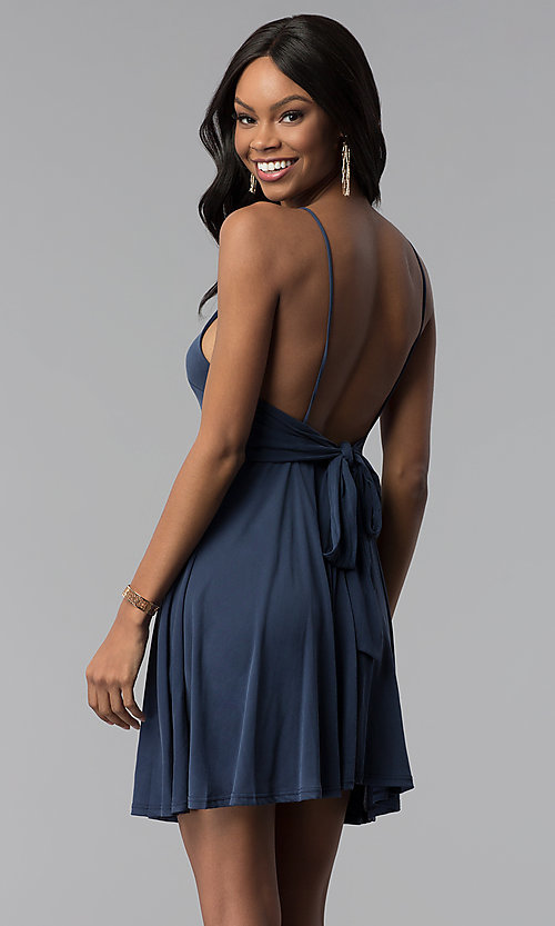 Image of short scoop-neck open-back jersey party dress. Style: BLU-BD8975 Front Image