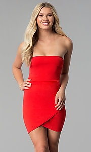 Image of strapless short red party dress with tulip skirt. Style: BLU-BD8988 Front Image