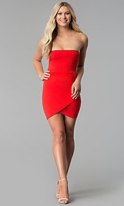 Image of strapless short red party dress with tulip skirt. Style: BLU-BD8988 Detail Image 2