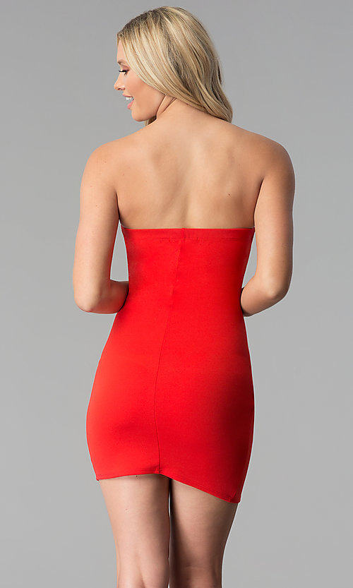 Image of strapless short red party dress with tulip skirt. Style: BLU-BD8988 Back Image