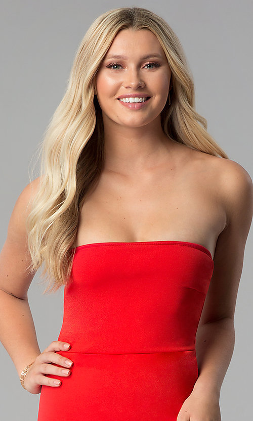 Image of strapless short red party dress with tulip skirt. Style: BLU-BD8988 Detail Image 1