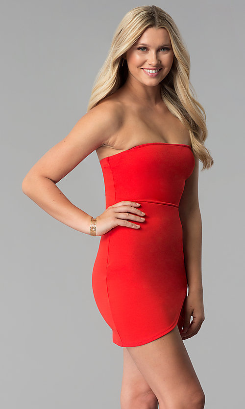 Image of strapless short red party dress with tulip skirt. Style: BLU-BD8988 Detail Image 3
