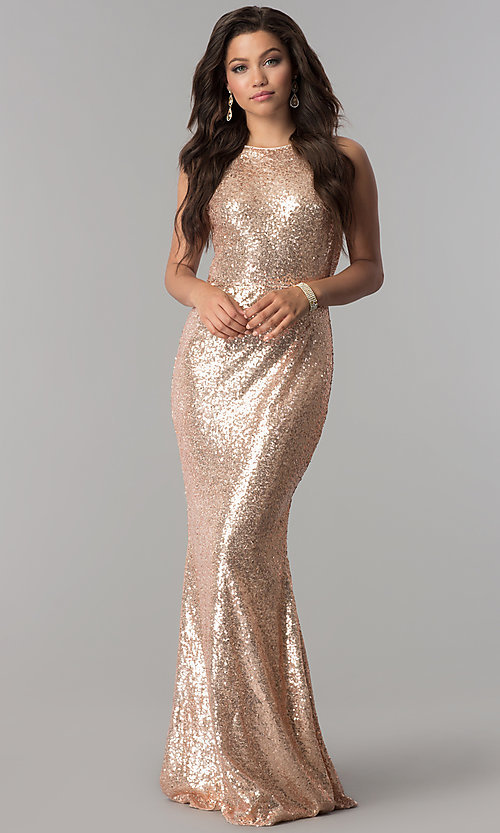 Long Rose Gold Sequin Prom Dress with Cowl Back