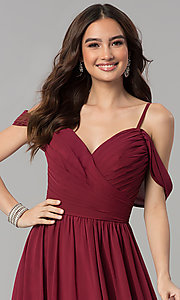 Image of cold-shoulder long chiffon prom dress in dusty rose. Style: JT-676r Detail Image 2