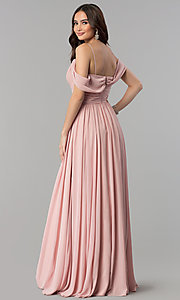 Image of cold-shoulder long chiffon prom dress in dusty rose. Style: JT-676r Back Image