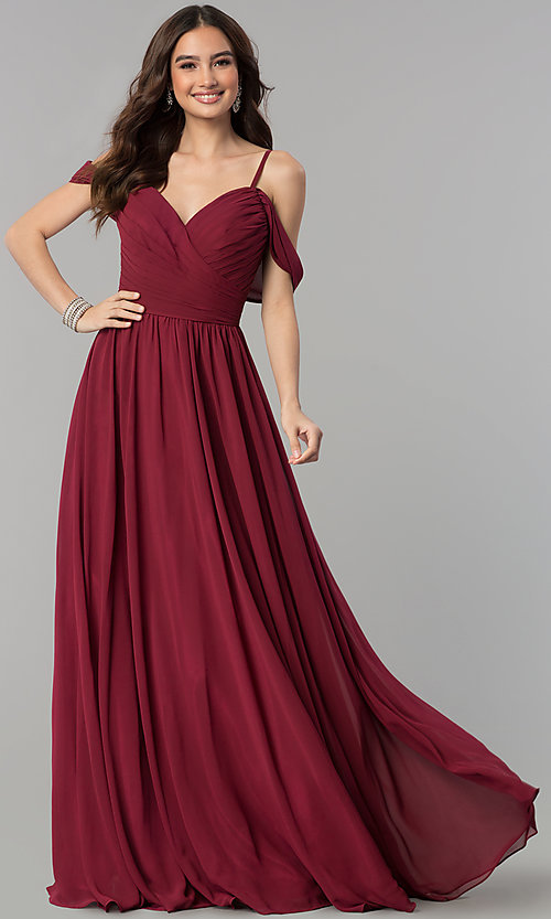 Image of cold-shoulder long chiffon prom dress in dusty rose. Style: JT-676r Detail Image 1
