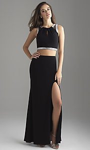 Image of long two-piece formal prom dress with beads. Style: NM-18-675 Front Image