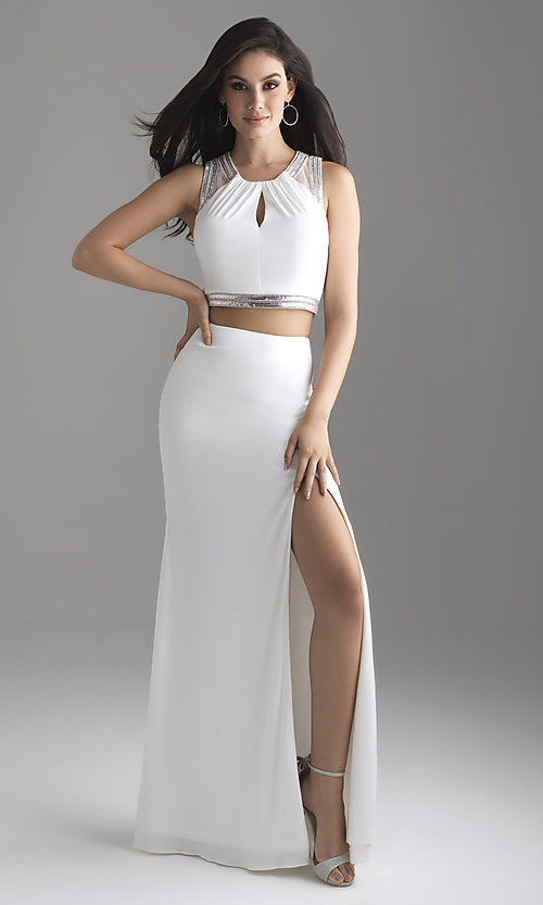 Image of long two-piece formal prom dress with beads. Style: NM-18-675 Detail Image 1