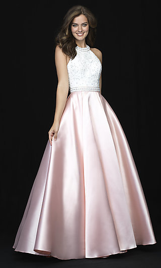 Madison James Long High-Neck Prom Dress