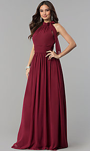Image of high-neck dusty rose long chiffon prom dress. Style: JT-672d Detail Image 1