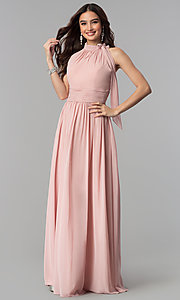 Image of high-neck dusty rose long chiffon prom dress. Style: JT-672d Front Image
