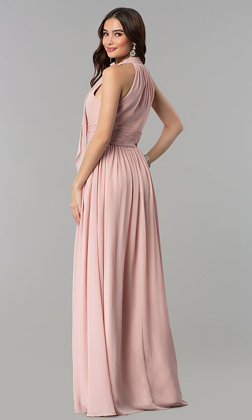 Image of high-neck dusty rose long chiffon prom dress. Style: JT-672d Back Image