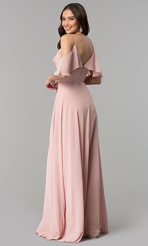 Image Of Off The Shoulder Dusty Rose Long Chiffon Prom Dress Style