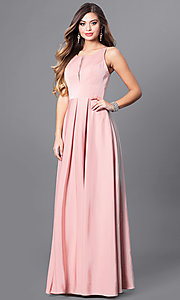 Image of dusty rose long formal dress with pockets. Style: FB-GL2365d Front Image